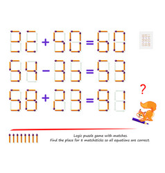 logic puzzle game with matches find place for vector image