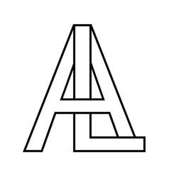 Logo sign al la sign two interlaced letters a l vector