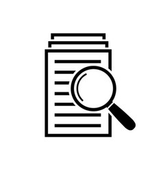 Magnifying glass icon search documents sign vector