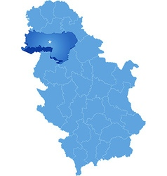 Map of serbia subdivision srem district vector