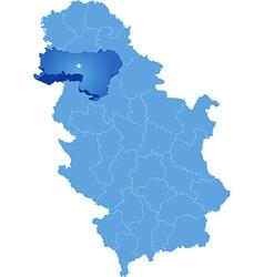Map of Serbia Subdivision Srem District vector
