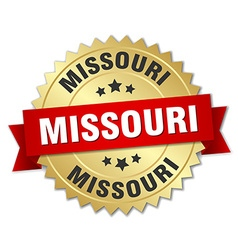 Missouri round golden badge with red ribbon vector