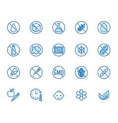 natural food flat line icons set sugar gluten vector image