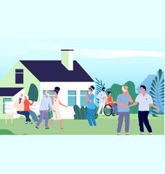 Nursing home elderly people walking backyard vector