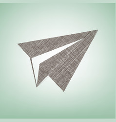 Paper airplane sign brown flax icon on vector
