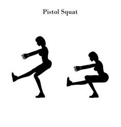 Pistol squat exercise silhouette vector