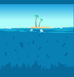 plastic pollution of ocean bottles bags vector image