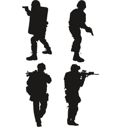 police swat silhouette vector image