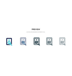 preview icon in different style two colored and vector image