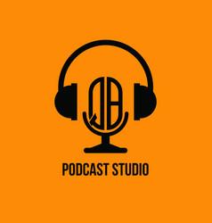 Qb monogram headphone and microphone style vector