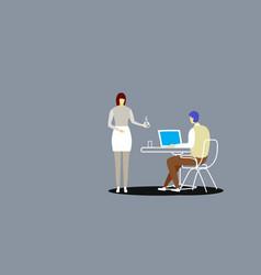 secretary bringing coffee to businessman boss vector image