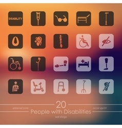 Set of people with disabilities icons vector