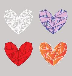 Set polygonal hearts vector