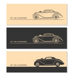 set vintage retro hot rod car silhouettes vector image