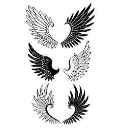 Set wings for tattoo vector