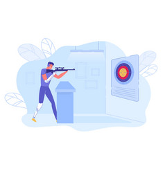 Shooter - disabled athlete with prosthesis aiming vector
