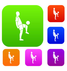 soccer player man set color collection vector image