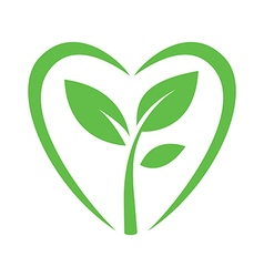 sprout heart logo sign vector image