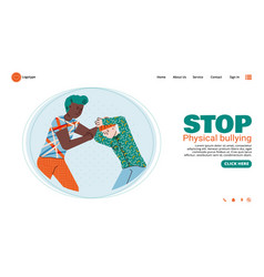 stop bullying banner with boy beating a younger vector image
