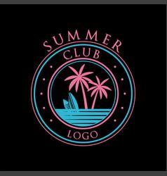 Summer club logo template design element can be vector