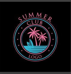 summer club logo template design element can vector image