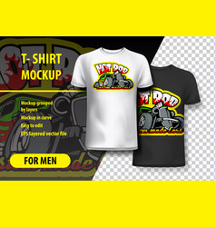 T-shirt mockup with hot rod phrase in two colors vector