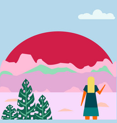 the woman looks at a fantasy landscape on sunset vector image