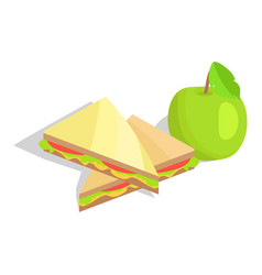triangular sandwich with lettuce and green apple vector image