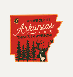 vintage arkansas badge retro style us state patch vector image