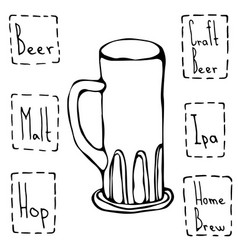 Vintage beer mug hand drawn vector