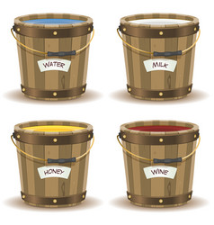 Water milk honey and wine inside wood bucket vector