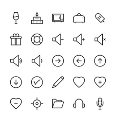 Web and User Interface Outline Icons 6 vector image
