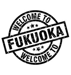 welcome to fukuoka black stamp vector image