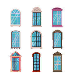 windows frames flat colorful various wooden vector image