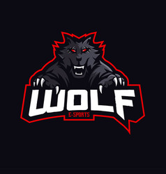 wolf mascot logo design with modern vector image
