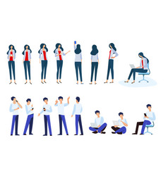 woman and man in different poses vector image