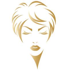 Women short hair style icon logo women face vector