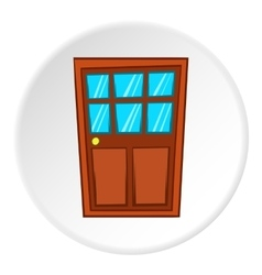 Wooden interior door icon cartoon style vector