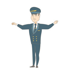 young caucasian pilot with arms outstretched vector image