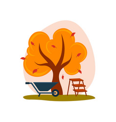 autumn landscape yellow tree with falling leaves vector image vector image