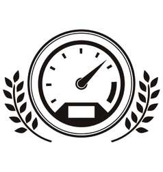 speedometer prize in monochrome with olive branch vector image