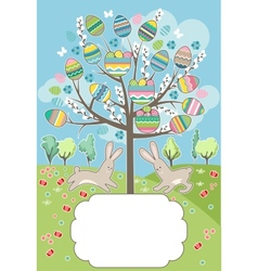 Stylized tree with rabbits - greeting card vector