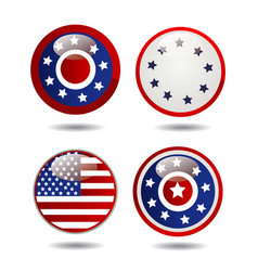 united states flag glossy buttons vector image