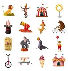Circus symbols icons set cartoon style vector image