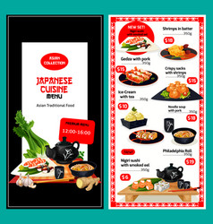 Lunch menu template for japanese cuisine vector