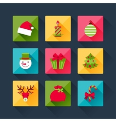 Set of christmas icons in flat design style vector image