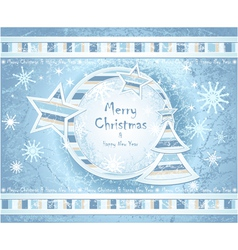 Background with Christmas Tree stars snowflakes vector image vector image