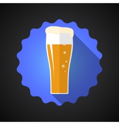 Glass of Beer Flat Long Shadow Icon vector image