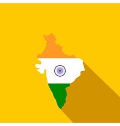 Map of India with the image of the national flag vector image