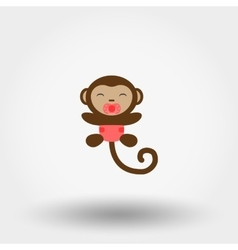 Monkey in a diaper with a pacifier Icon vector image vector image